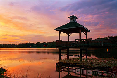 Gorton Pond Sunset Warwick Rhode Island Print by Lourry Legarde