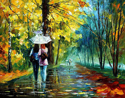 Gossip In The Rain - Palette Knife Landscape Oil Painting On Canvas By Leonid Afremov Original by Leonid Afremov