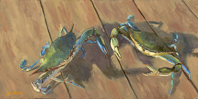 Blue Crab Painting - Got Crabs II by John Albrecht