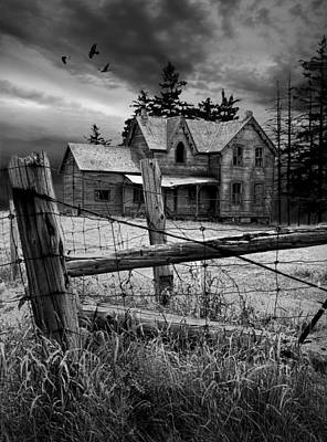 Gothic Abandoned Farm House In Ontario Canada Print by Randall Nyhof