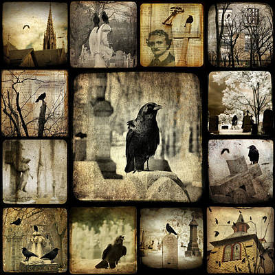 Gothic And Crows Print by Gothicolors Donna Snyder