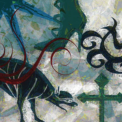 Abstract Collage Digital Art - Gothic Boot Mythology by Flo Karp