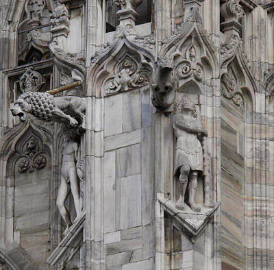 Milan Gothic Cathedral Statues And Lion Gargoyle Print by Leone M Jennarelli