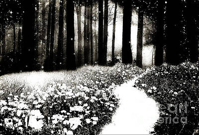 Gothic Dark Black White Surreal Woodlands Path Print by Kathy Fornal