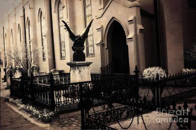 Gargoyle Photograph - Gothic Surreal Church Gargoyle - Surreal Guardian Gargoyle Haunting Spooky Architecture Black Gates by Kathy Fornal