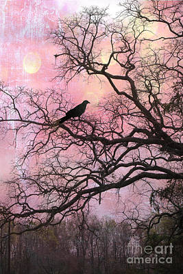 Ravens And Crows Photograph - Gothic Fantasy Surreal Nature - Haunting Pink Trees Limbs With Haunting Spooky Raven by Kathy Fornal