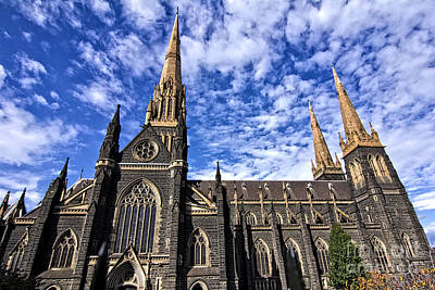 Gothic Revival Style St Patrick's Cathedral In Melbourne Print by Beverly Claire Kaiya