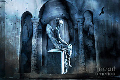 Gothic Surreal Angel In Mourning With Ravens Print by Kathy Fornal