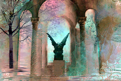 Gargoyle Photograph - Gothic Surreal Fantasy Haunting Gargoyle Green Teal Nature Woodlands Forest Trees by Kathy Fornal