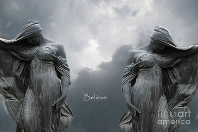 Gothic Surreal Female Figures Haunting Inspirational Spiritual Art - Believe Print by Kathy Fornal