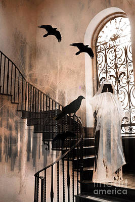 Gothic Grim Reaper With Ravens Crows - Spooky Haunting Surreal Gothic Art Print by Kathy Fornal
