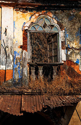 Abandoned House Photograph - Old Gothic Window And Roof Of Portuguese House. Goa. India by Jenny Rainbow