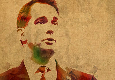 Politician Mixed Media - Governor Scott Walker Watercolor Portrait On Worn Distressed Canvas by Design Turnpike