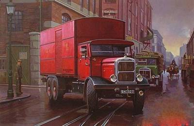 Old Street Painting - Gpo Scammell Rigid 6 by Mike  Jeffries