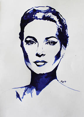 Grace Kelly In Royal Blue Original by AYC  Art - Anna Yanova-Cattoor