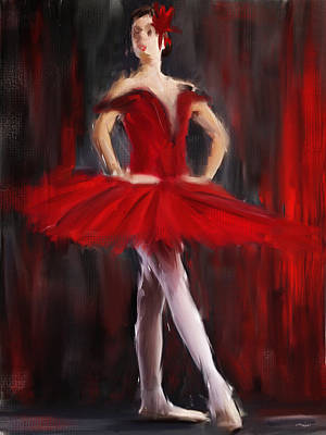 Red Abstract Painting - Graceful Stand by Lourry Legarde