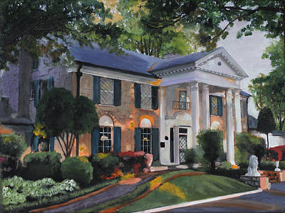 Kinkade Painting - Graceland Home Of Elvis by Cecilia Brendel