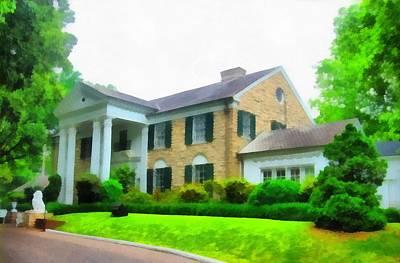 Elvis Presley Mixed Media - Graceland Mansion by Dan Sproul