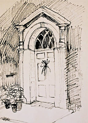 Philadelphia Scene Drawing - Gracious Doorway With Indian Corn by Deborah Dendler