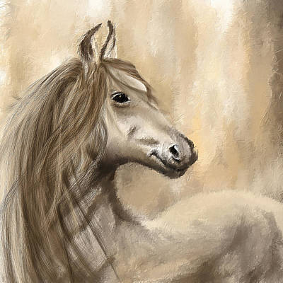 Horse Painting - Gracious Wild- Cream And Brown Painting by Lourry Legarde