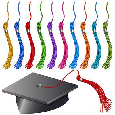 Tassel Digital Art - Graduation Cap And Tassel Set by John Takai