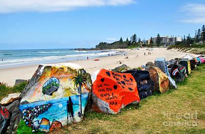 Graffiti At The Beach Print by Kaye Menner