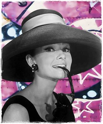 Tiffany Photograph - Graffiti - Audrey Hepburn - The Hat by Graffiti Girl