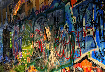 Urban Art Photograph - Graffiti Blues by Terry Rowe