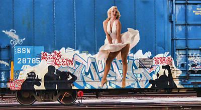Graffiti - Marilyn And Paparazzi Print by Graffiti Girl