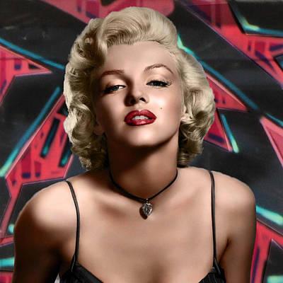 Celebrity Photograph - Graffiti - Marilyn Red Graff by Graffiti Girl