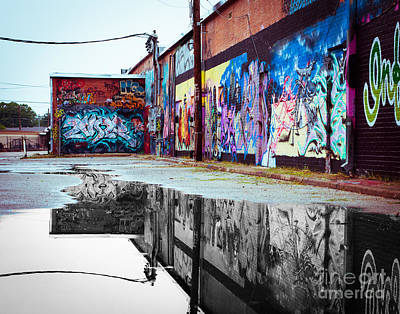 Squint Photograph - Graffiti Reflection by Sonja Quintero
