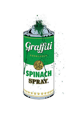 Modern Digital Art Digital Art Digital Art - Graffiti Spinach Spray Can by Gary Grayson