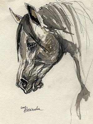 Grafik Polish Arabian Horse Ink Drawing Original by Angel  Tarantella