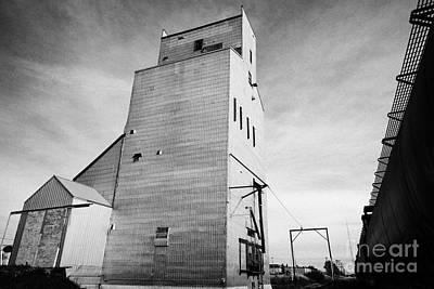grain elevator and old train track landmark leader Saskatchewan Canada Print by Joe Fox