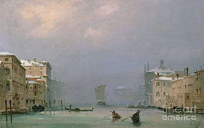 Grand Canal With Snow And Ice Print by Ippolito Caffi