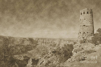Grand Canyon National Park Mary Colter Designed Desert View Watchtower Vintage Print by Shawn O'Brien