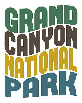 Grand Canyon Digital Art - Grand Canyon National Park Retro Wave by Flo Karp