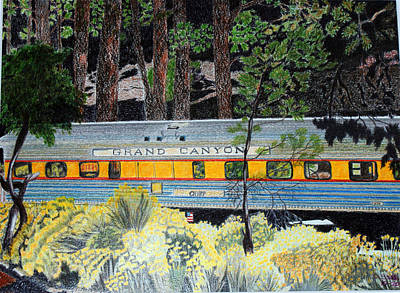 Grand Canyon Drawing - Grand Canyon Rail Car Chief by Cathy Still