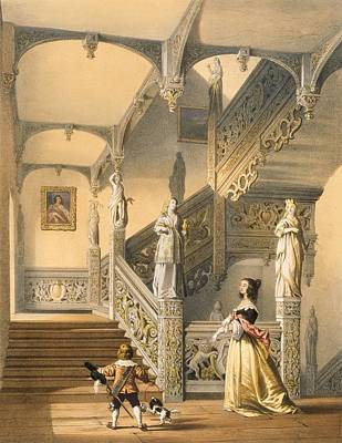Statues Drawing - Grand Elizabethan Staircase by Joseph Nash