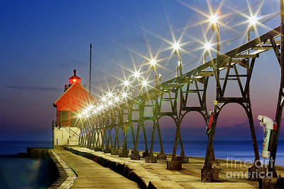 Grand Haven Front Range Lighthouse Print by Twenty Two North Photography