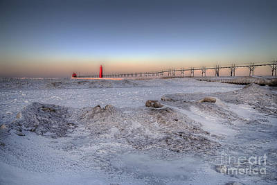 Grand Haven In January Print by Twenty Two North Photography