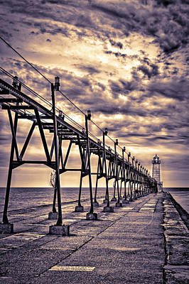 Grand Haven Lighthouse And Pier, Grand Print by Rona Schwarz