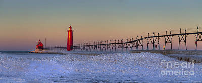 Grand Haven Pier At Sunrise Print by Twenty Two North Photography