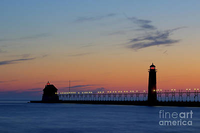 Grand Haven Pier At Sunset Print by Twenty Two North Photography