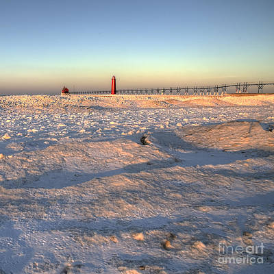 Snowy Photograph - Grand Haven Winter by Twenty Two North Photography