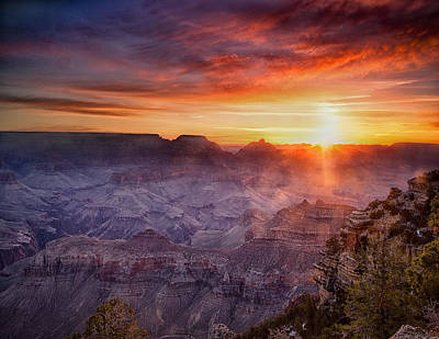 Grand Morning At The Canyon Print by Andrew Soundarajan