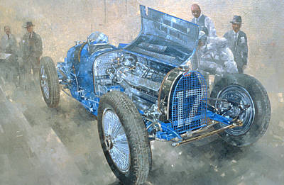 Motor Racing Painting - Grand Prix Bugatti by Peter Miller