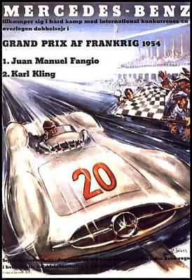 Grand Prix F1 Reims France 1954  Print by Georgia Fowler