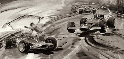 Car Drawing - Grand Prix Problems by Graham Coton