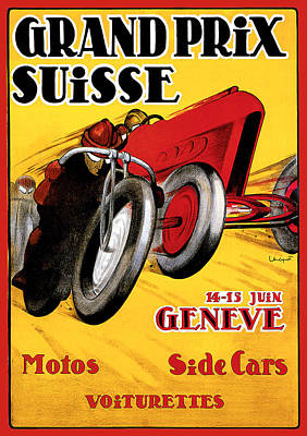 Grand Prix Suisse Geneve Print by Vintage Automobile Ads and Posters